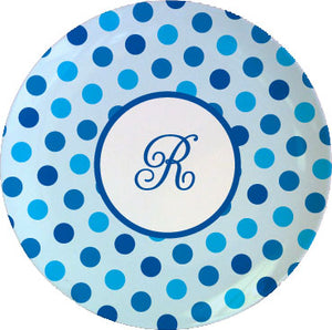 blue dots personalized plate