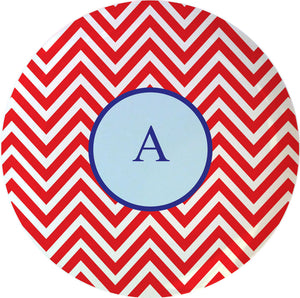 red chevron personalized plate
