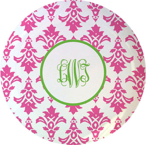 pink damask personalized plate