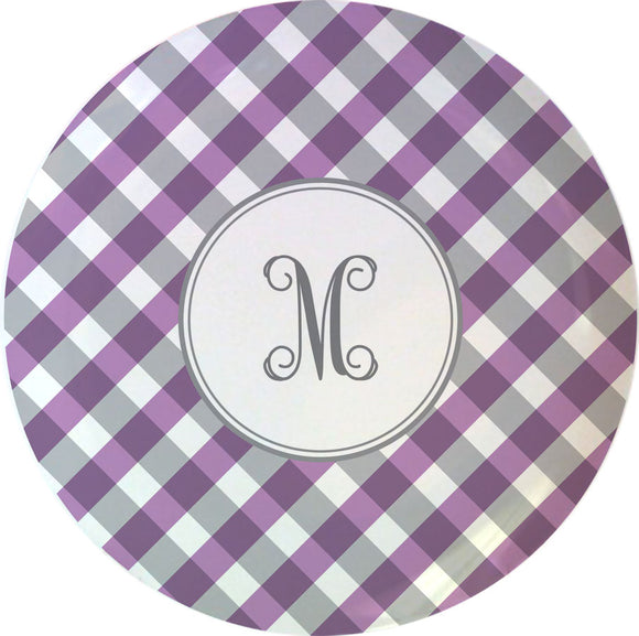 purple gingham personalized plate