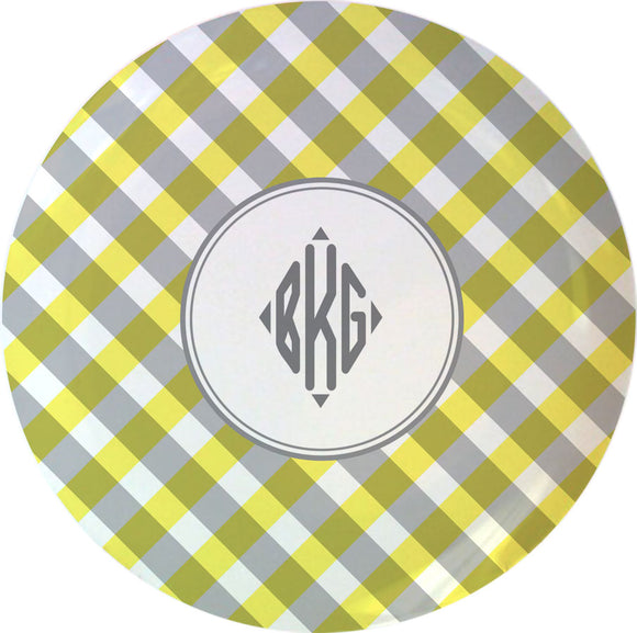 yellow gingham personalized plate