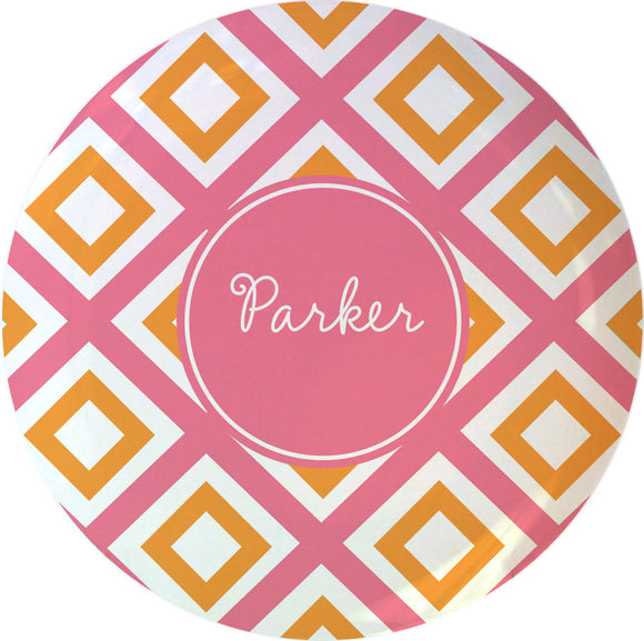 pink geo personalized plate