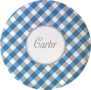 blue gingham personalized plate