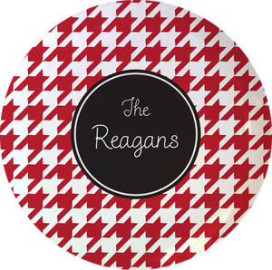 red houndstooth personalized plate