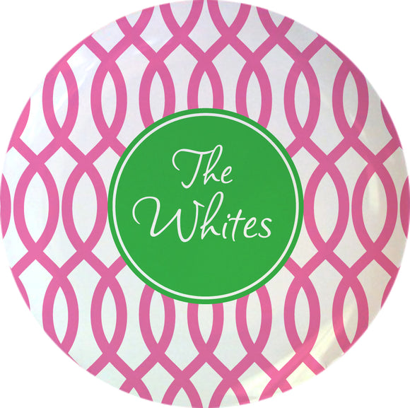garden gate pink personalized plate