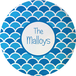 shells blue personalized plate