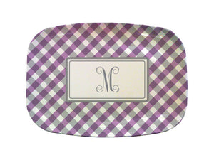 purple gingham platter