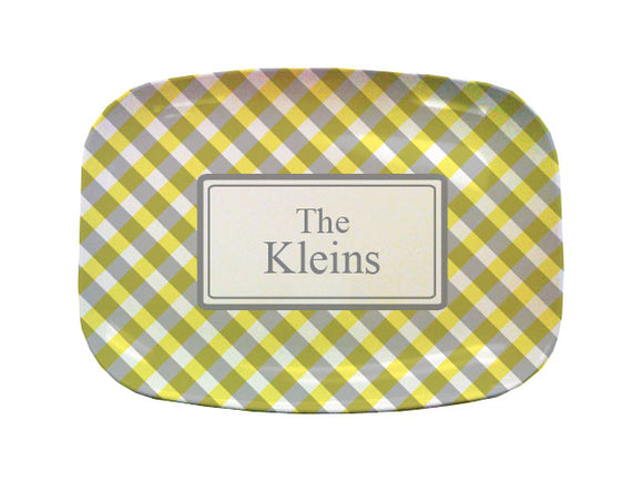 yellow gingham platter