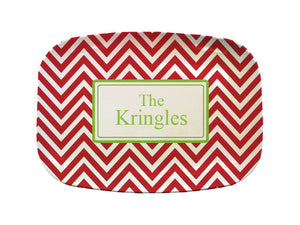 red green chevron platter