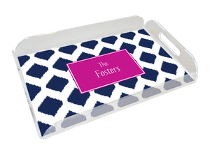 navy ikat personalized lucite tray