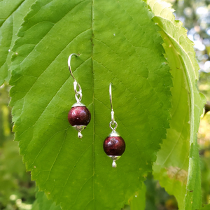 dark red shimmery beaded earrings