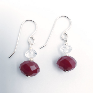 Clear and red faceted crystal earrings