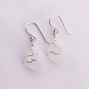 Wire wrapped silver white sea glass dangle earrings