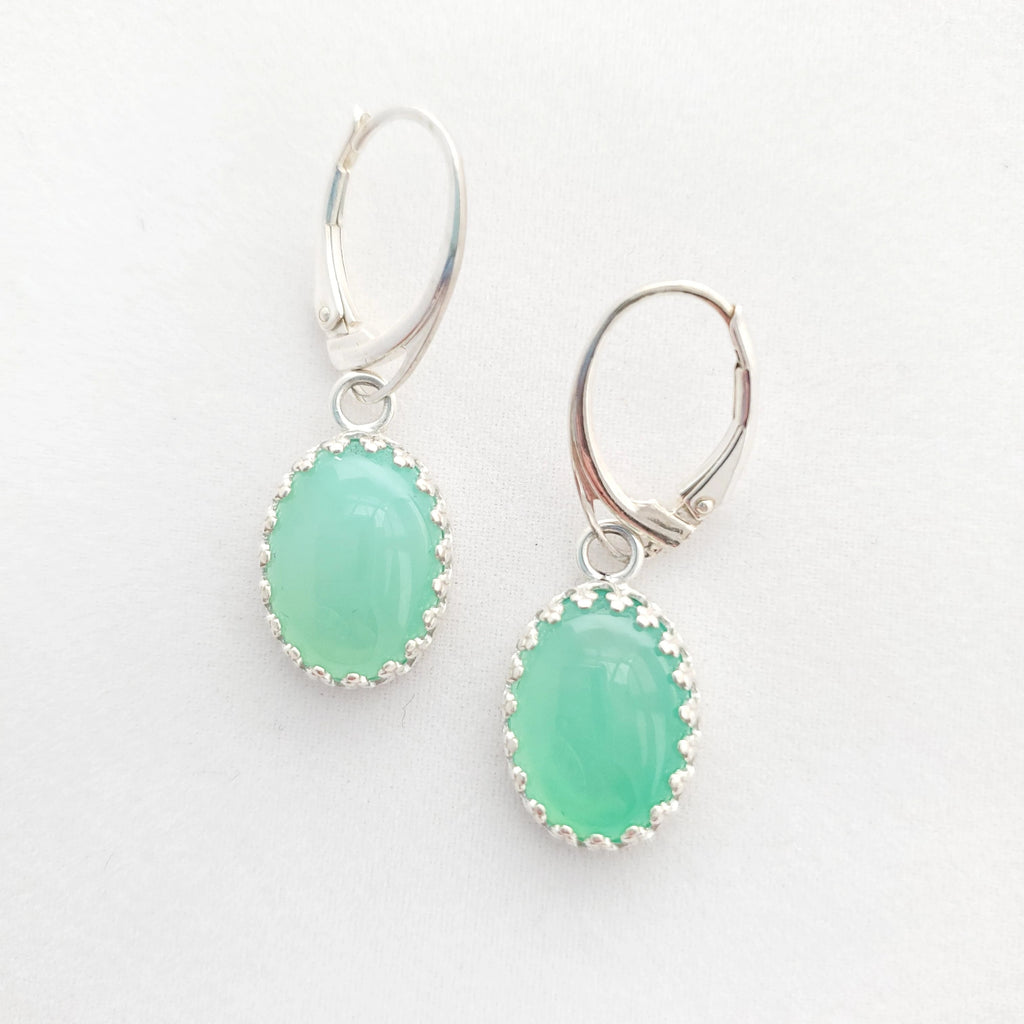 Apple green colored Chrysoprase and sterling silver crown bezel dangle earrings on lever back earring wires