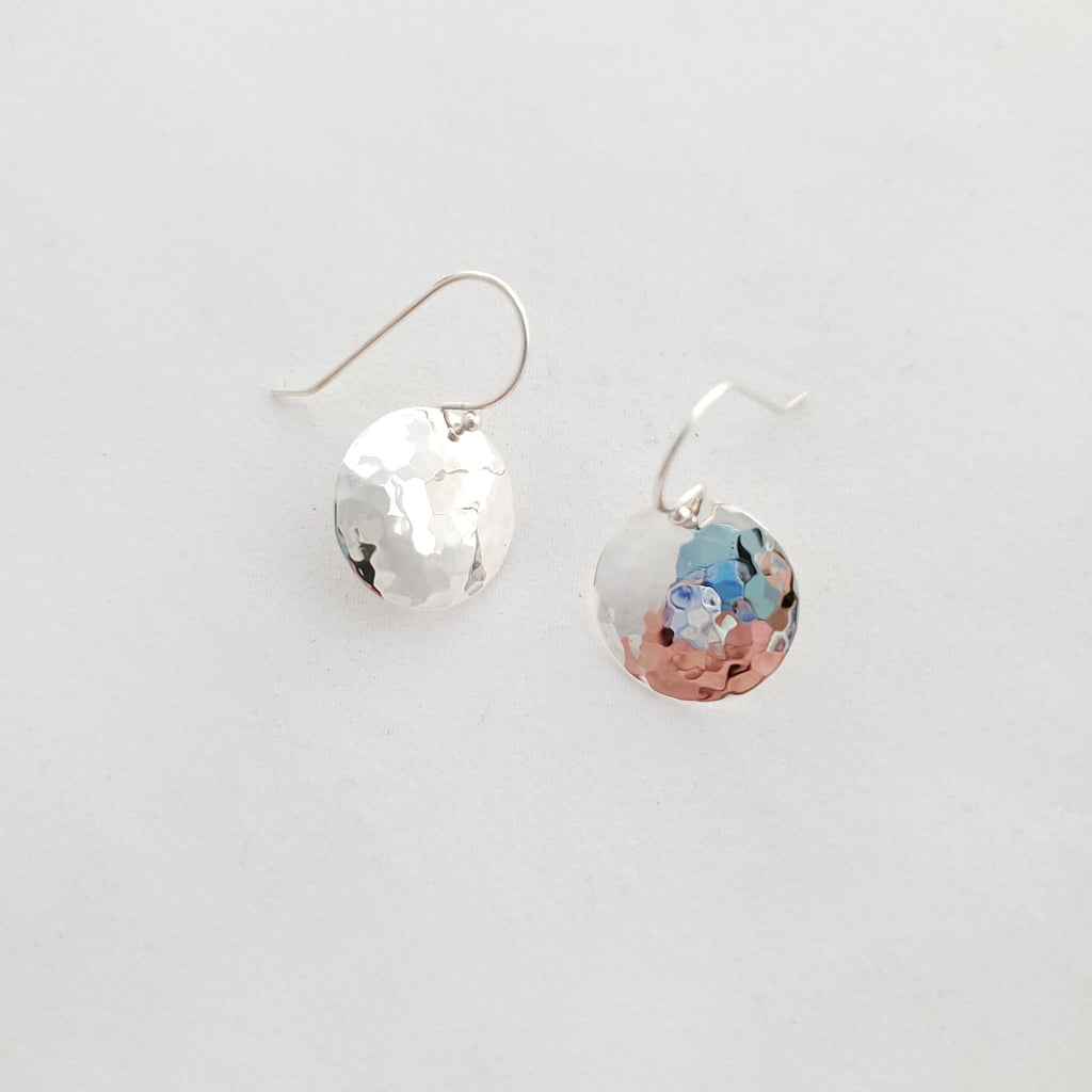 Hammered sterling silver round earrings