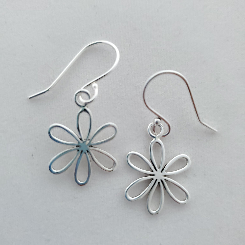 open petal flower charms hang from french earring wires