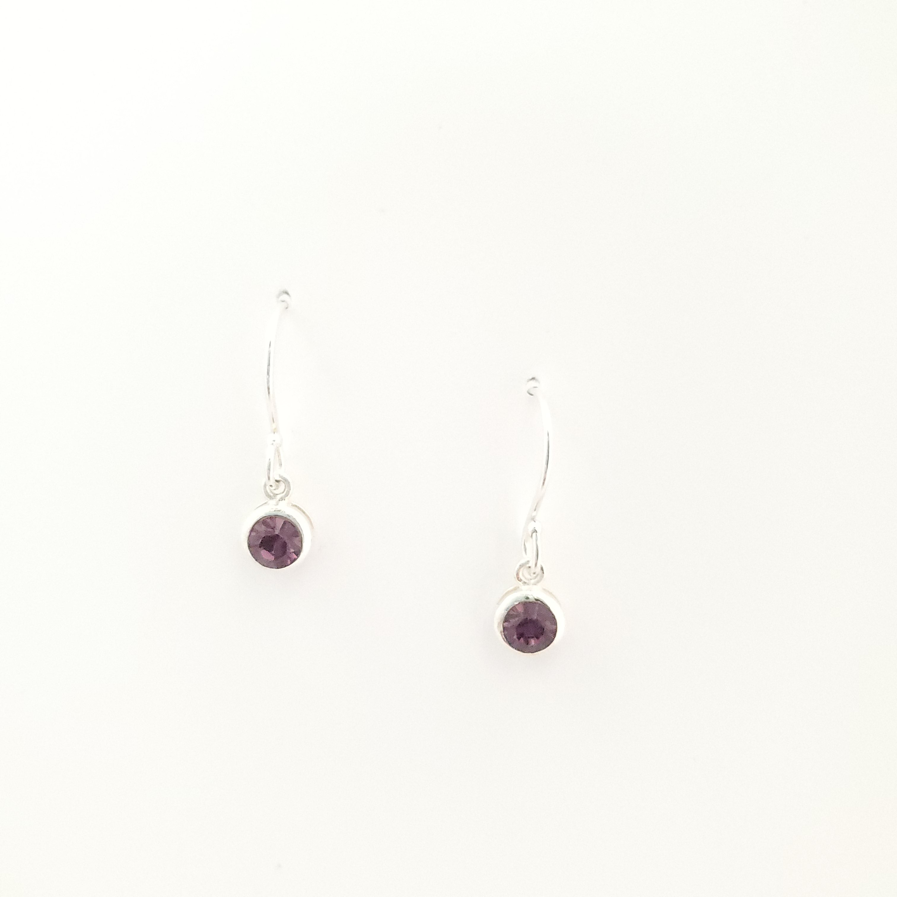 February birthstone purple crystal short dangle earrings sterling silver