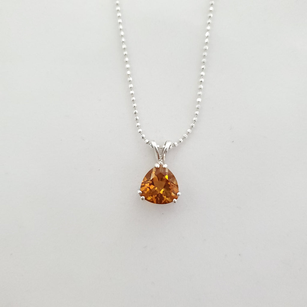 Trillion faceted citrine prong set pendant on chain