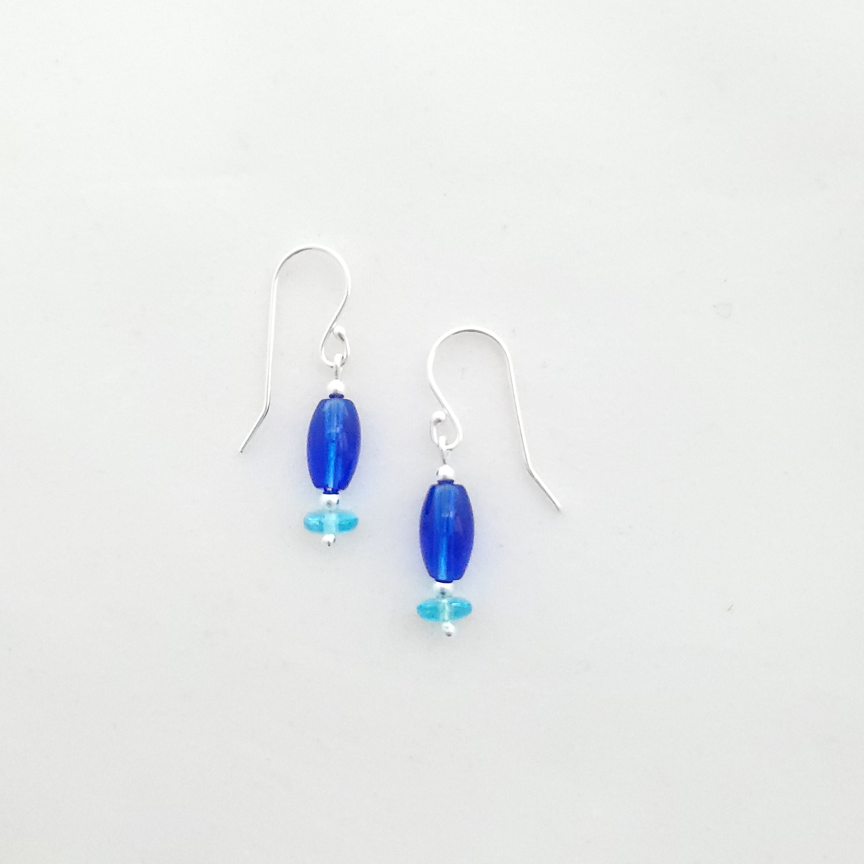 Blue beaded earrings sterling silver