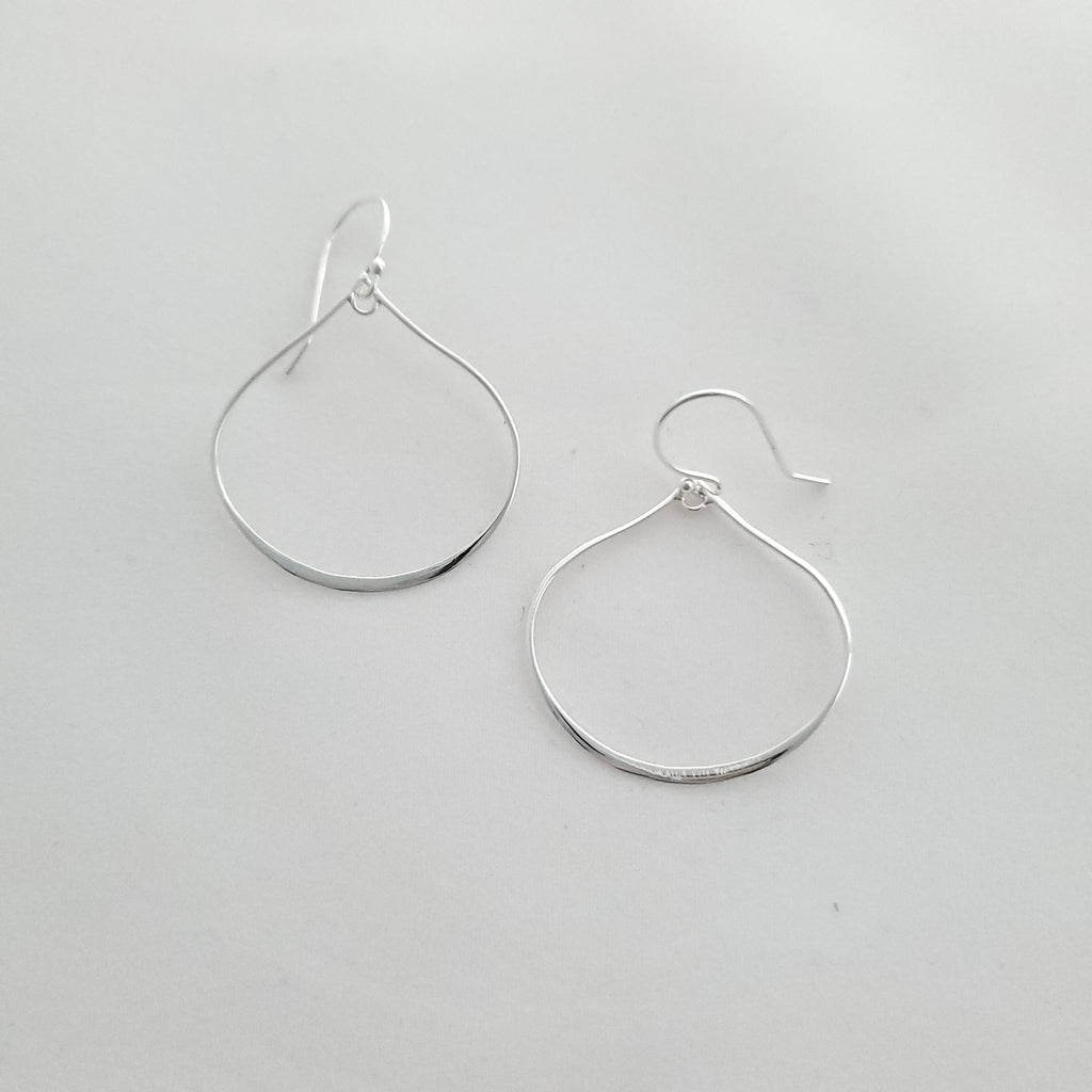 Wide open teardrop earrings with short french earring wires