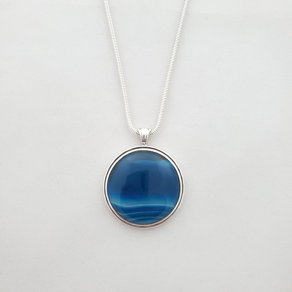 Round blue and white striped agate necklace bezel set in sterling silver
