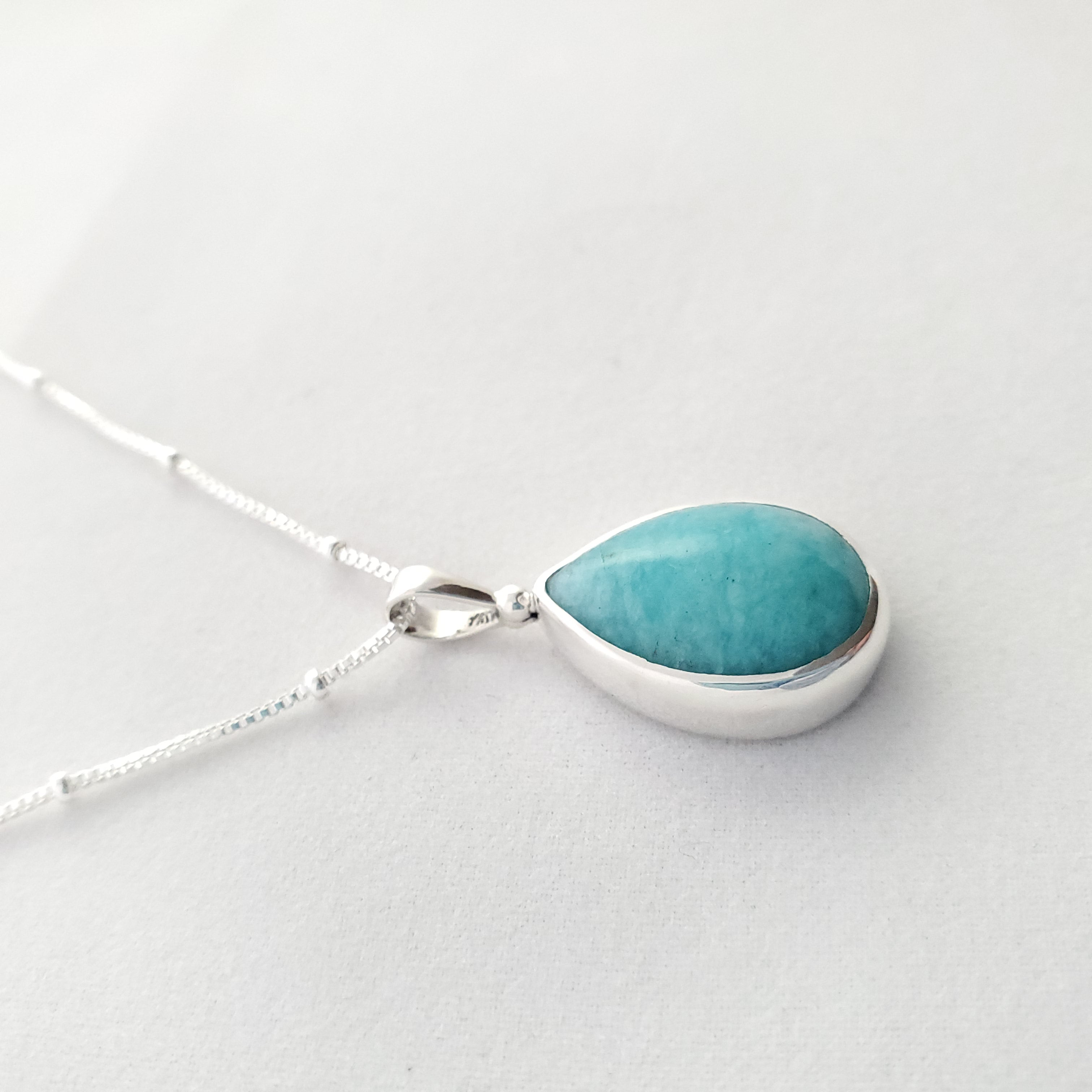Teardrop amazonite necklace shown from the side
