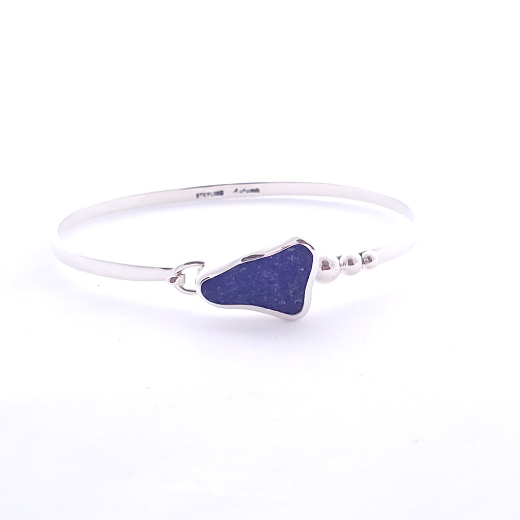 20200310_132111.jpg  2313 × 2313px  Sterling silver hook-on style bangle bracelet with triangular shaped genuine cobalt blue sea glass bezel set.