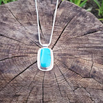 Sterling silver rectangle bezel set turquoise necklace with tube bail