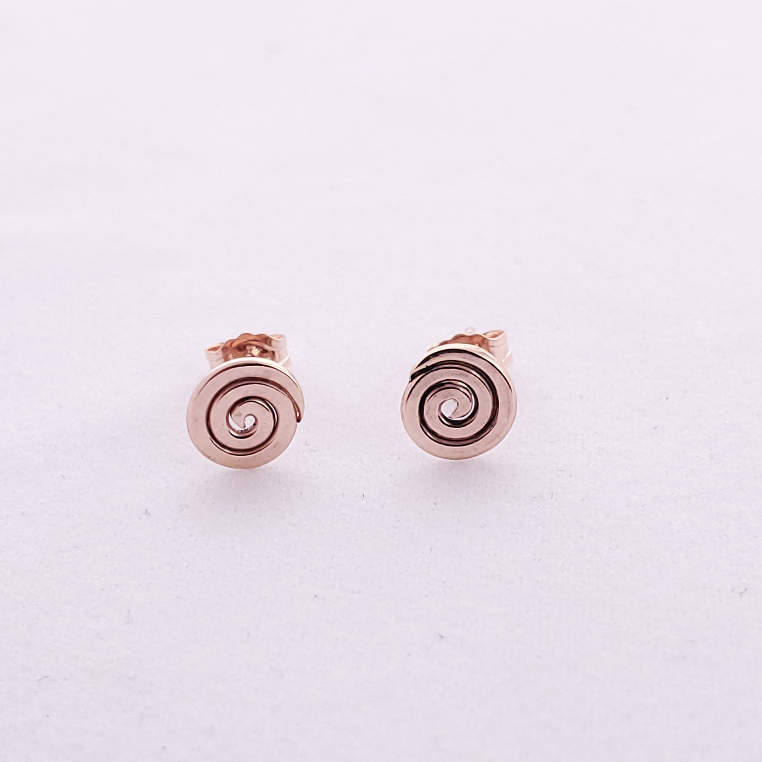 Small spiral post earrings in rose gold-filled