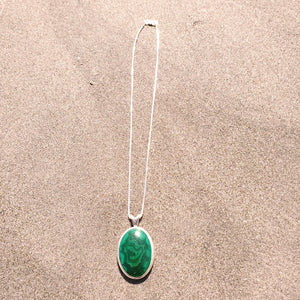 Large malachite necklace with heavy silver box chain