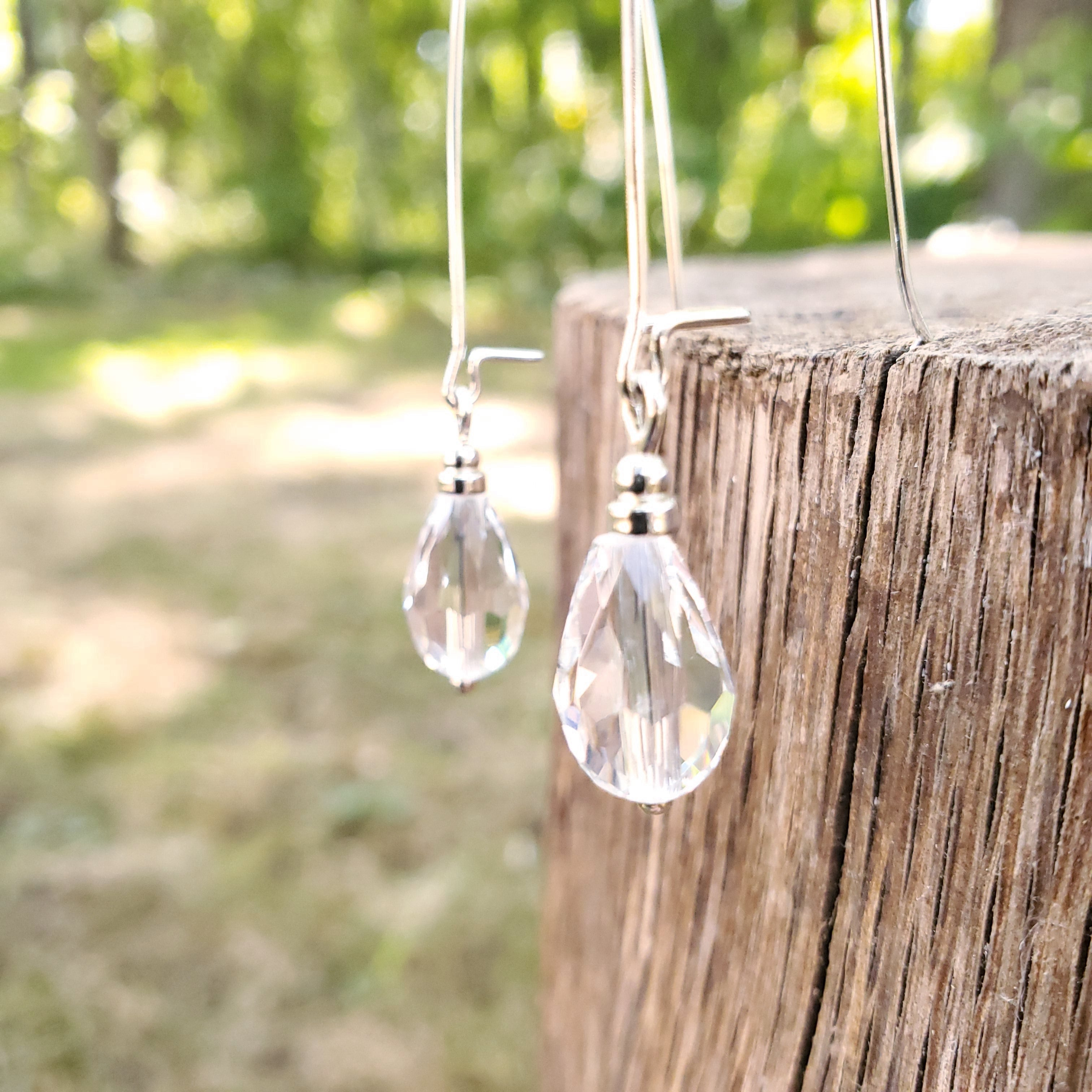 Clear faceted crystal bead earrings