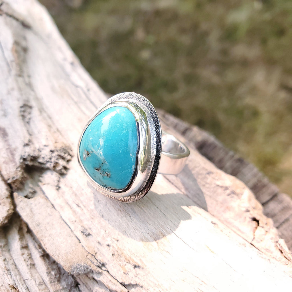 Triangle shaped bezel set turquoise ring