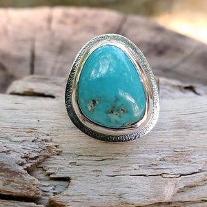 Turquoise heavy sterling silver ring