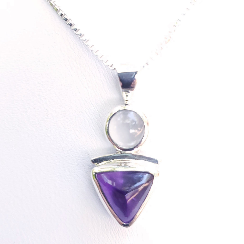 Sterling silver triangle amethyst and round moonstone necklace