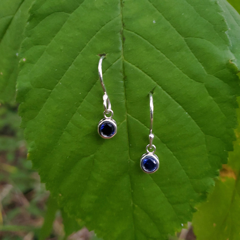 Lab grown sapphire tiny dangle earrings