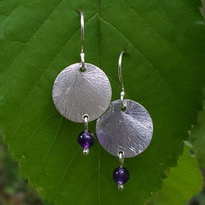 Brushed silver round disc earrings with amethyst beads