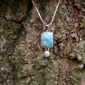 Larimar and fresh water pearl sterling silver necklace