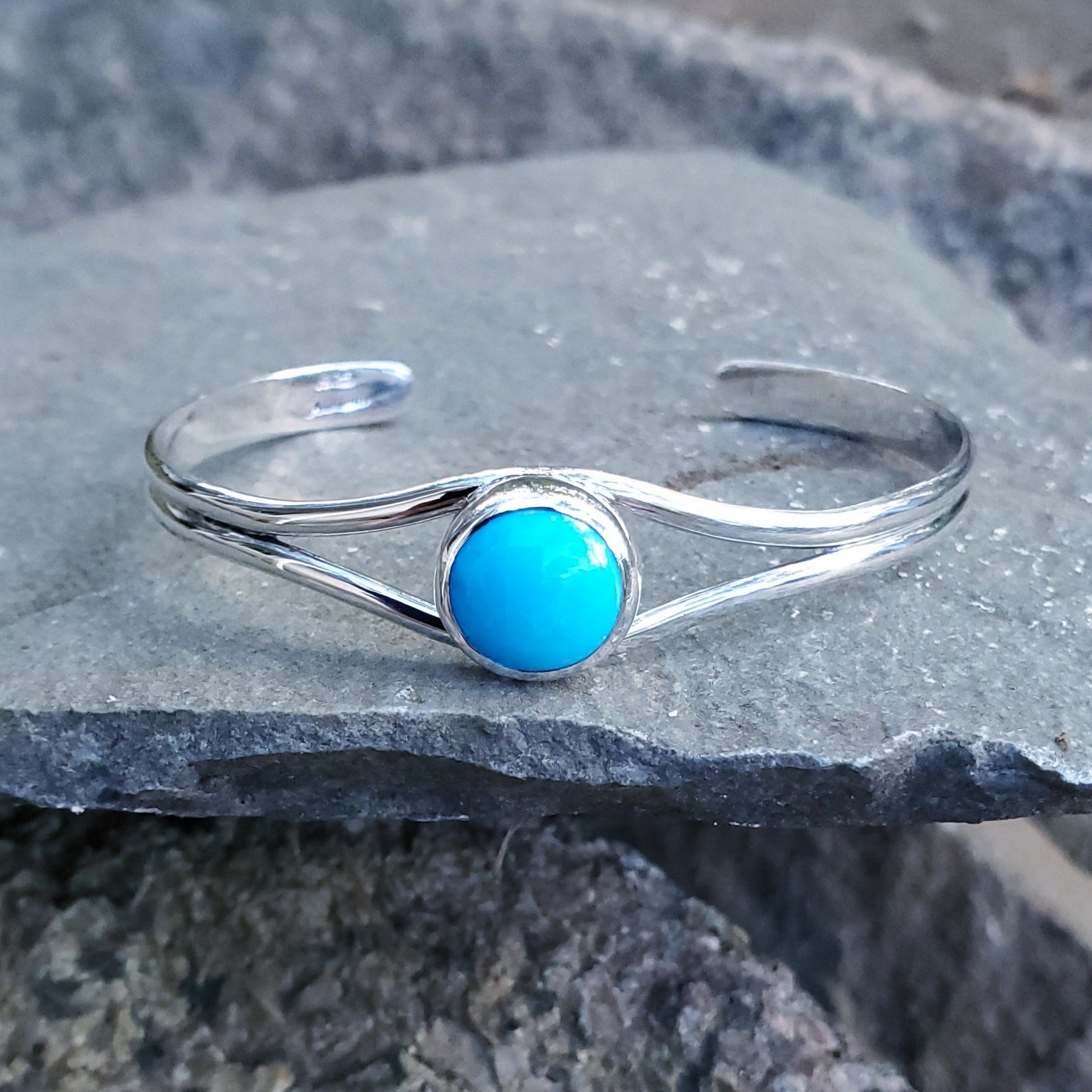 Turquoise cuff bracelet with open center