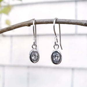 Oval faceted cubic zirconia earrings