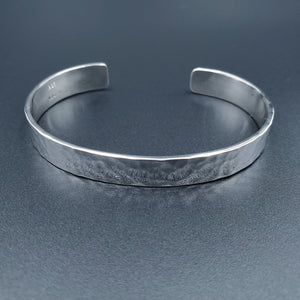 Sterling silver rectangular cuff bracelet hammered