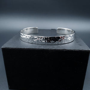 Sterling silver hammered rectangular cuff bracelet