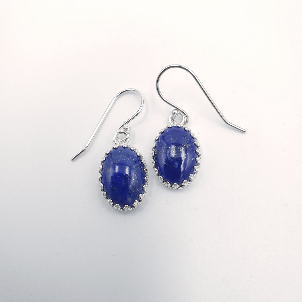 Oval lapis earrings with crown bezel