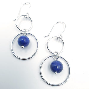 Double silver circle lapis dangle earrings