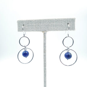 Double silver circle lapis earrings