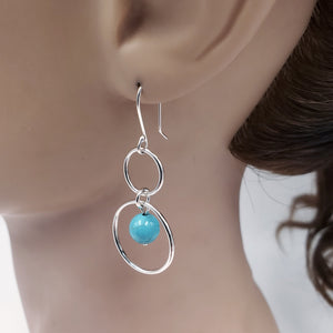 Double circle silver turquoise dangle earrings