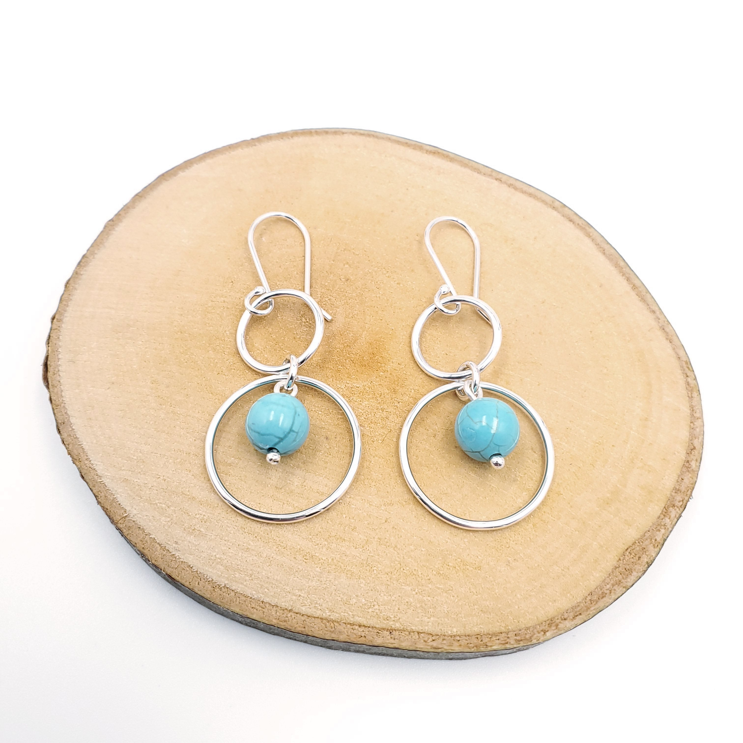 Double circles silver turquoise earrings
