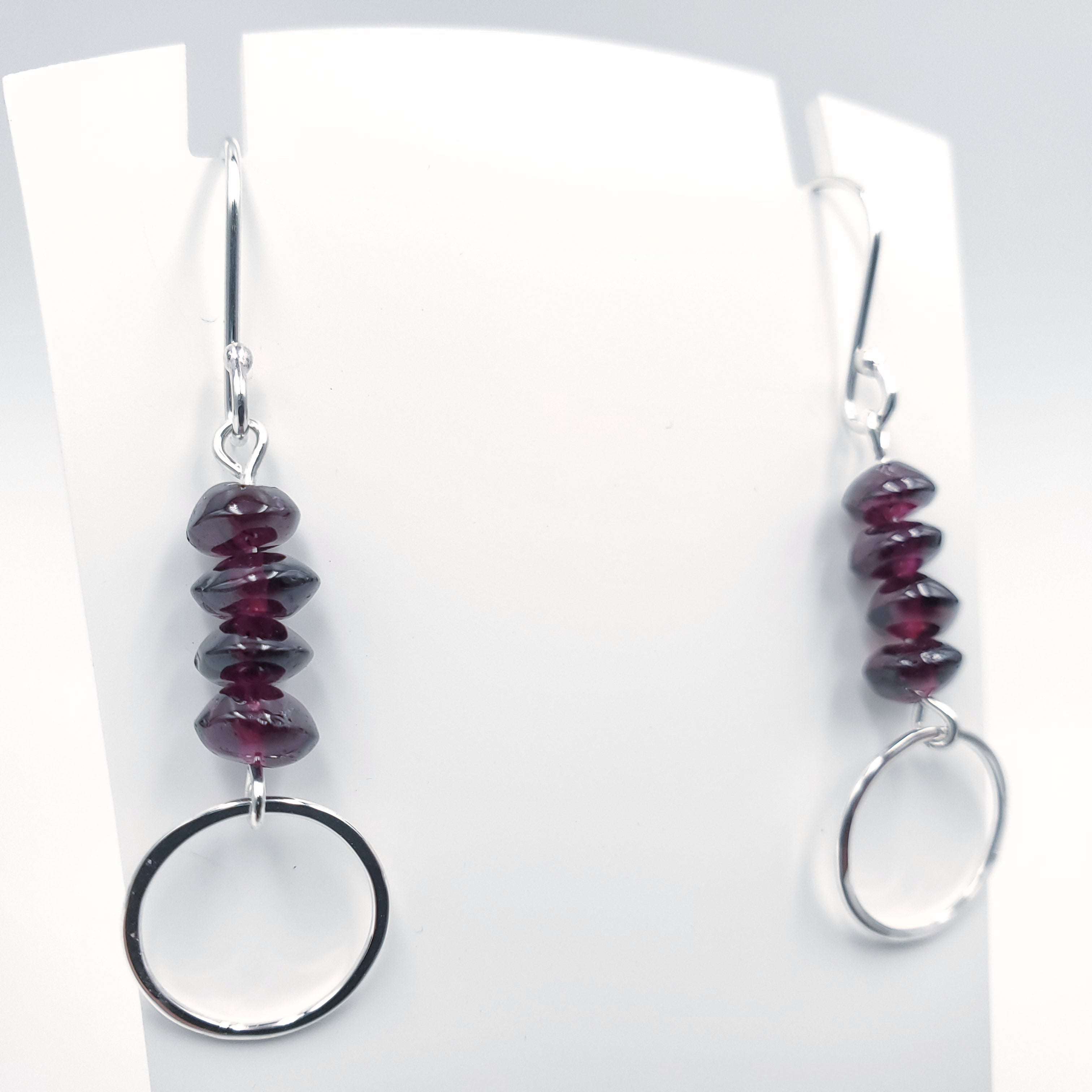 Silver garnet bead and circle dangle earrings