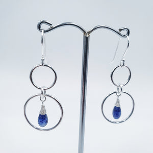Double circle blue sapphire silver earrings