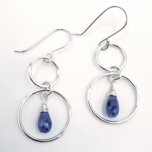 Double circle earrings with faceted blue sapphire beads
