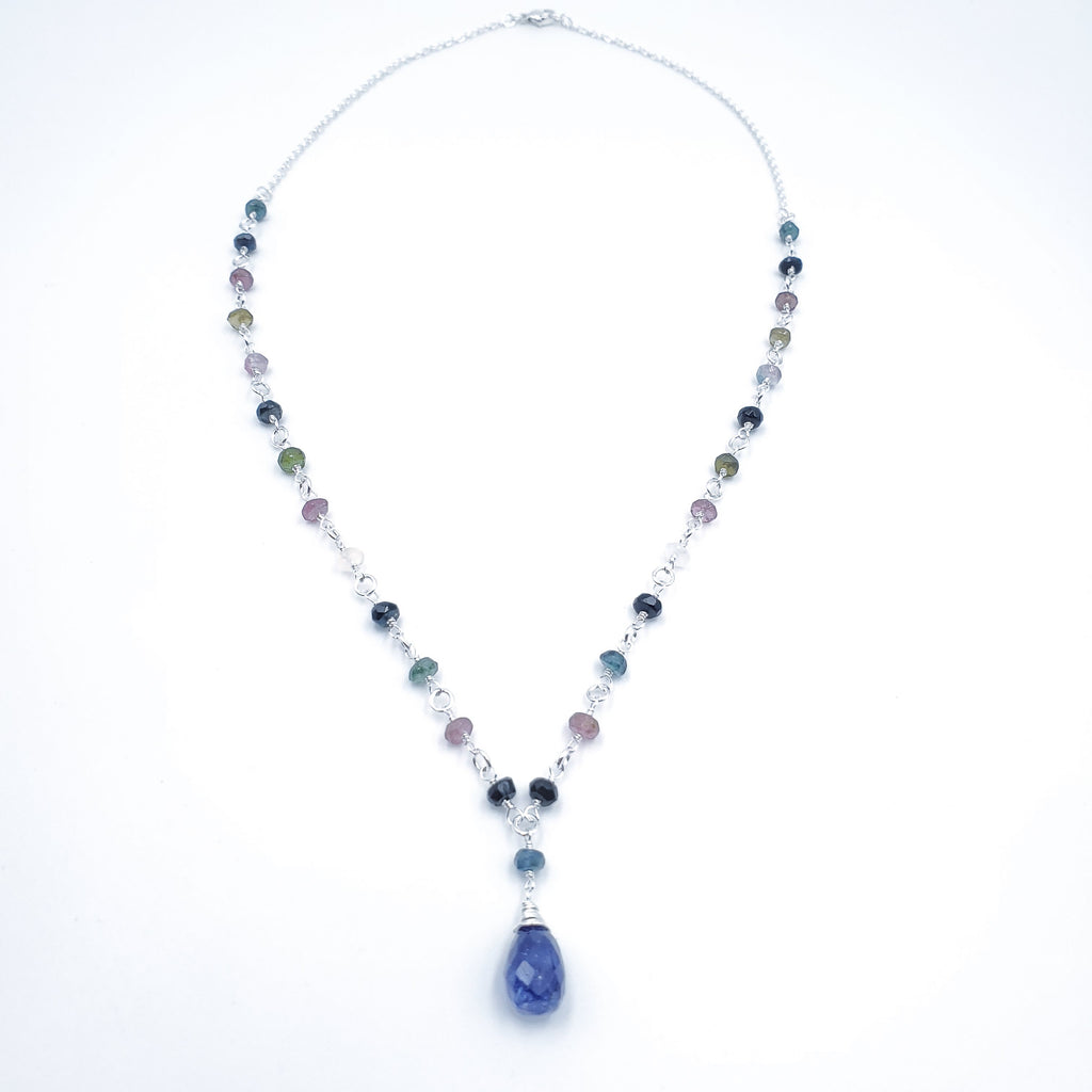 Tourmaline beaded chain with blue sapphire center pendant